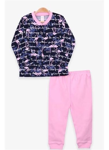 Breeze Kız Bebek Pijama Takımı Flamingo Desenli Lacivert  Lacivert